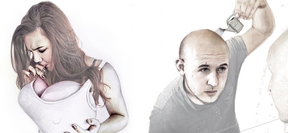 Illustration of insecure people-woman blowing up balloon implants, man pouring product on bald head