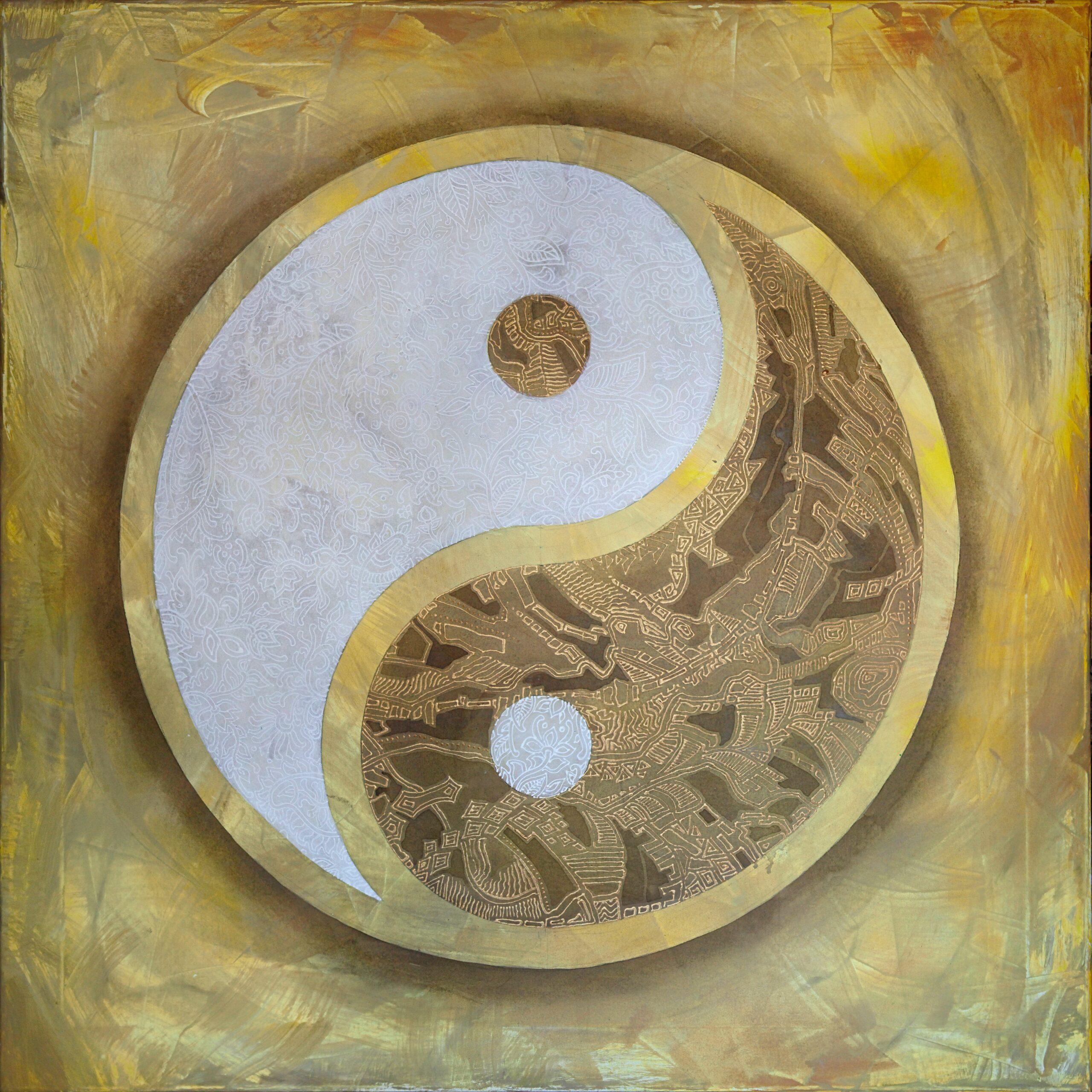 Yin yang symbol on gold background