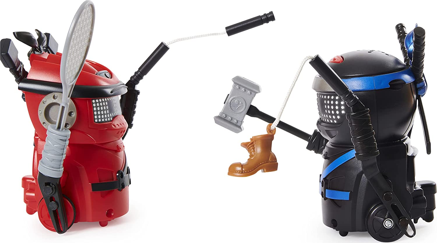 A red bot and a black bot fighting with various little items